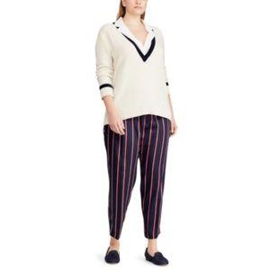 Ralph Lauren Striped-Twill Straight-Leg Pants 16W
